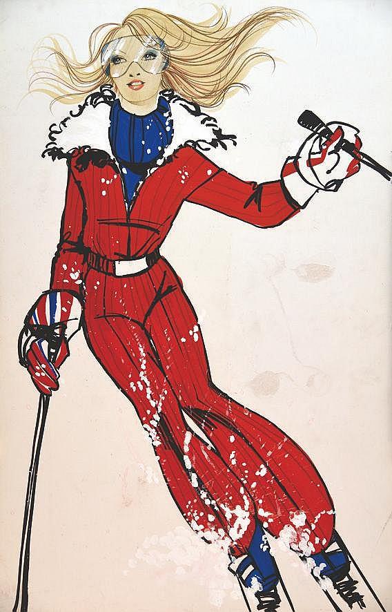 LACAZE A.  Skieuse dans la Neige gouache     vers 1970