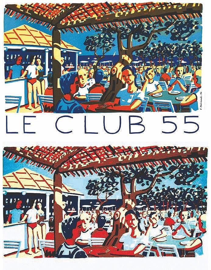 BOISROND FRANCOIS  Saint Tropez - Le Club 55 - Ramatuelle -  Plage de Pampelone affiche & Litho signée & N° 13/200     1996