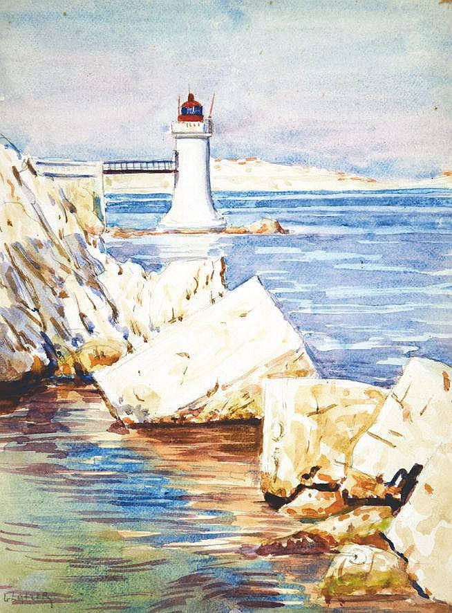 GLATZER SIMON  Saint Tropez - Phare aquarelle signée Simon Glatzer     vers 1910