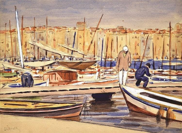 GLATZER SIMON  Port de Saint Tropez vers 1910 aquarelle signée  Simon Glatzer     vers 1910