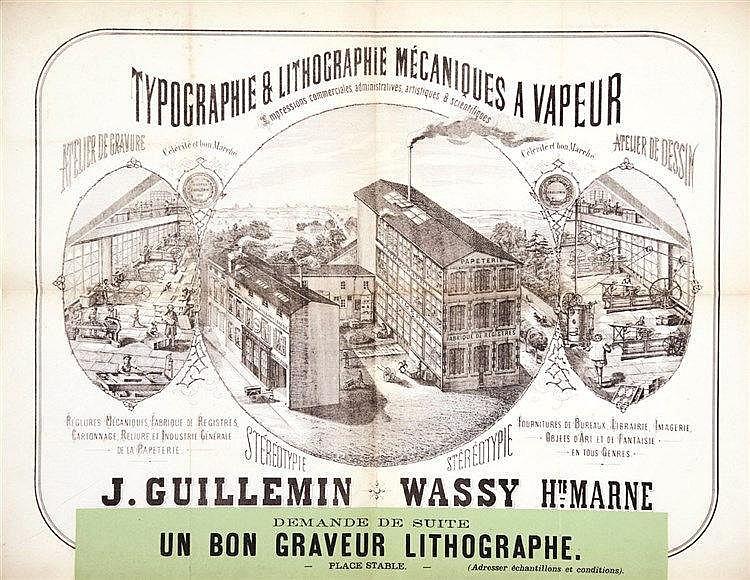 J. Guillemin Typographie & Lithographie Mécaniques à Vapeur     vers 1860  Wassy - ( Haute Marne )
