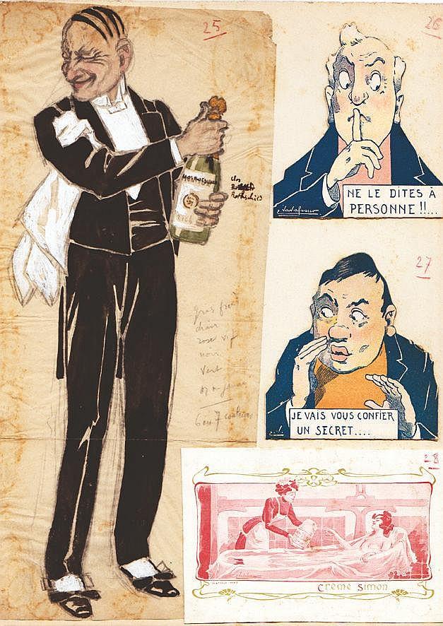 VAVASSEUR  Champagne Le Clos Rothschild Gouache     vers 1900