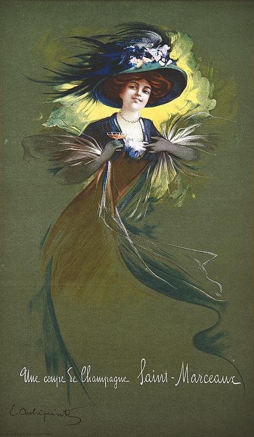 OCCHIPRINTIZ E.  Saint Marceaux Une Coupe de Champagne     vers 1900