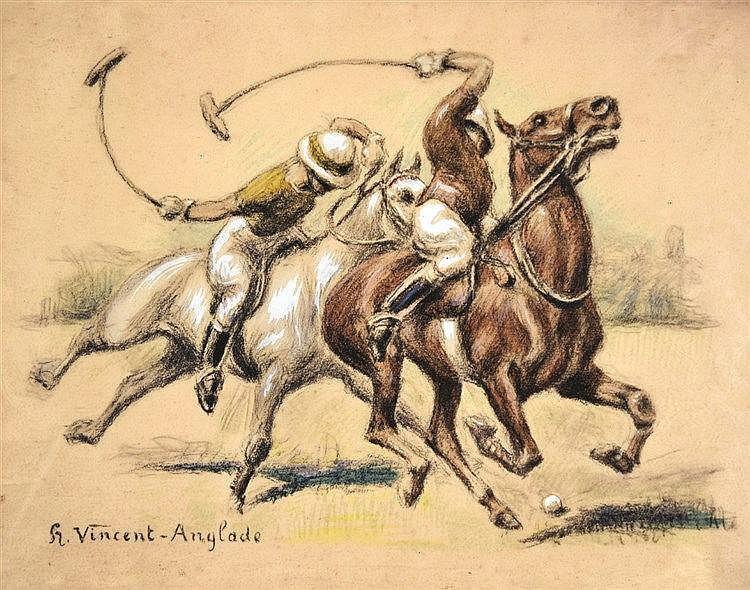 VINCENT ANGLADE H.  Joueurs de Polo - Pastel signé H. Vincent Anglade     vers 1930