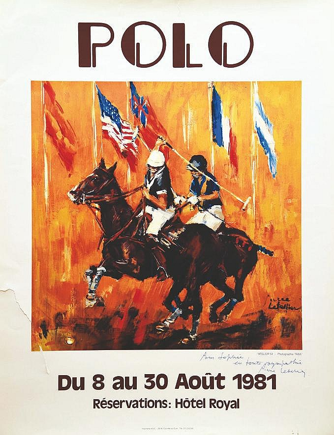 LETELLIER PIERRE  Polo Reservation Hôtel Royal - 1981 affiche signée Pierre Letellier     1981  Deauville ( Calvados )
