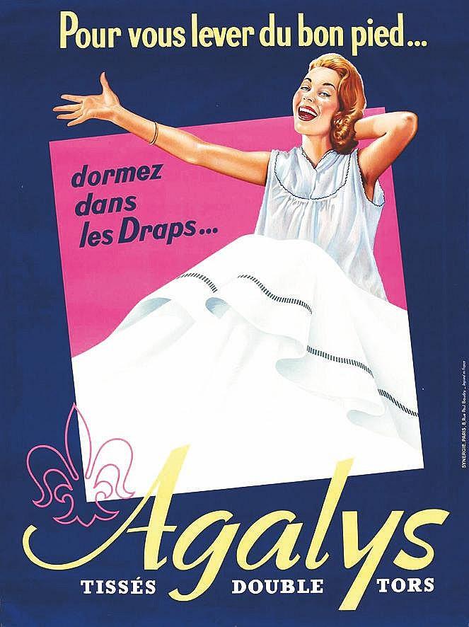 Draps Agalys. Pour vous lever du bon pied     1960