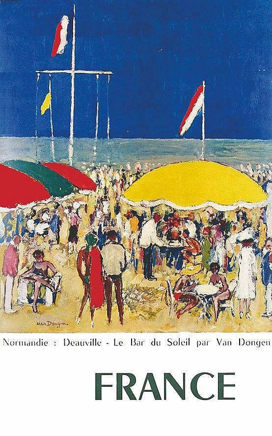 VAN DONGEN KEES  Deauville - Le Bar du Soleil par Van Dongen     1960