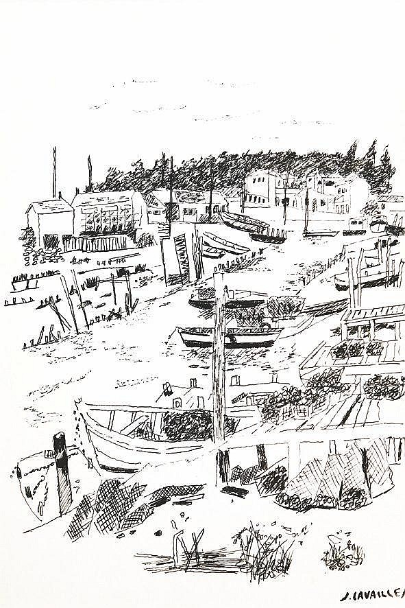 CAVAILLES JULES  Bateaux en Bretagne Feutre sur papier signée avec le cachet de la sucession de Jules Cavailles     vers 1970