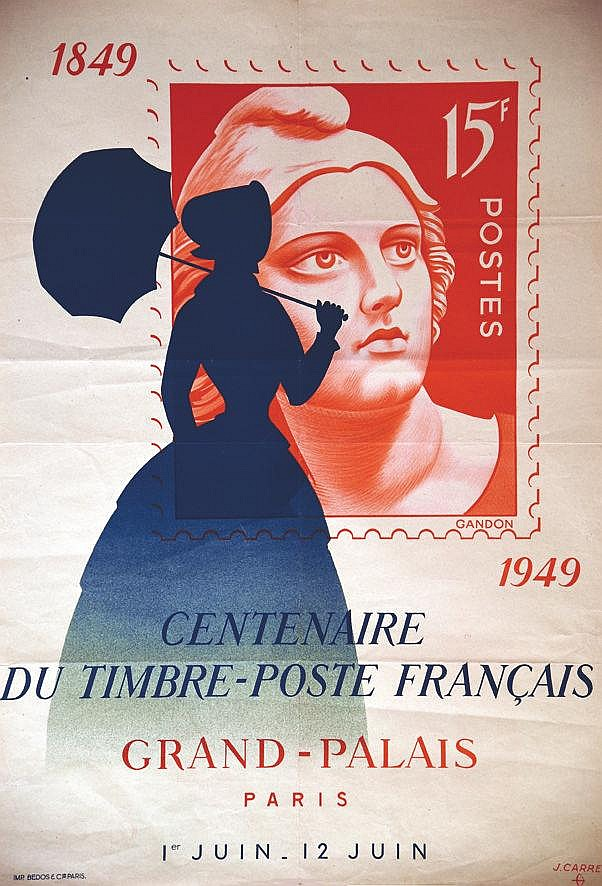 CARRE J.  Centenaire du Timbre Poste Français Grand Palais     1949