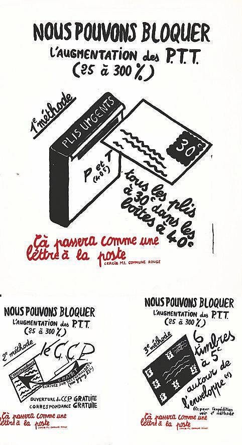 Lot de 3 Aff / Posters : Nous Pouvons Bloquer l'Augmentation des PTT     vers 1970