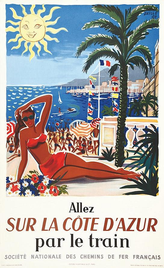 BAILLE HERVE Allez sur la Côte d'Azur par le Train 1954 1954