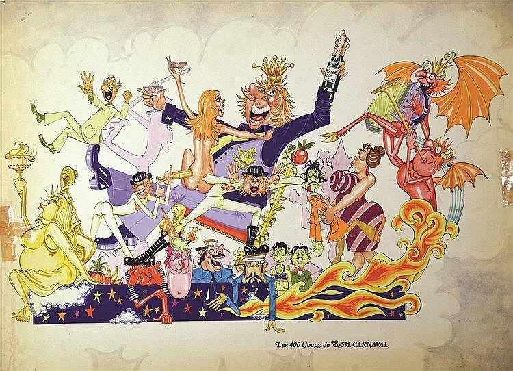 Nice Carnaval - Les 400 Coups de SM Carnaval Gouache signée vers 1950