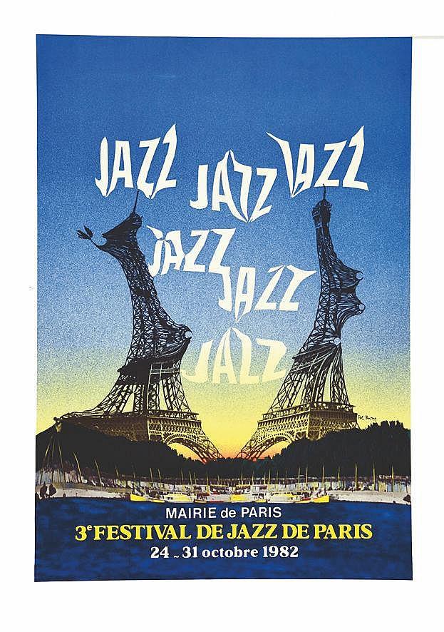 BURY POL 3 ème Festival de Jazz de Paris 1982 Estampes Signée et numérotée par Pol Bury 18/90 1982