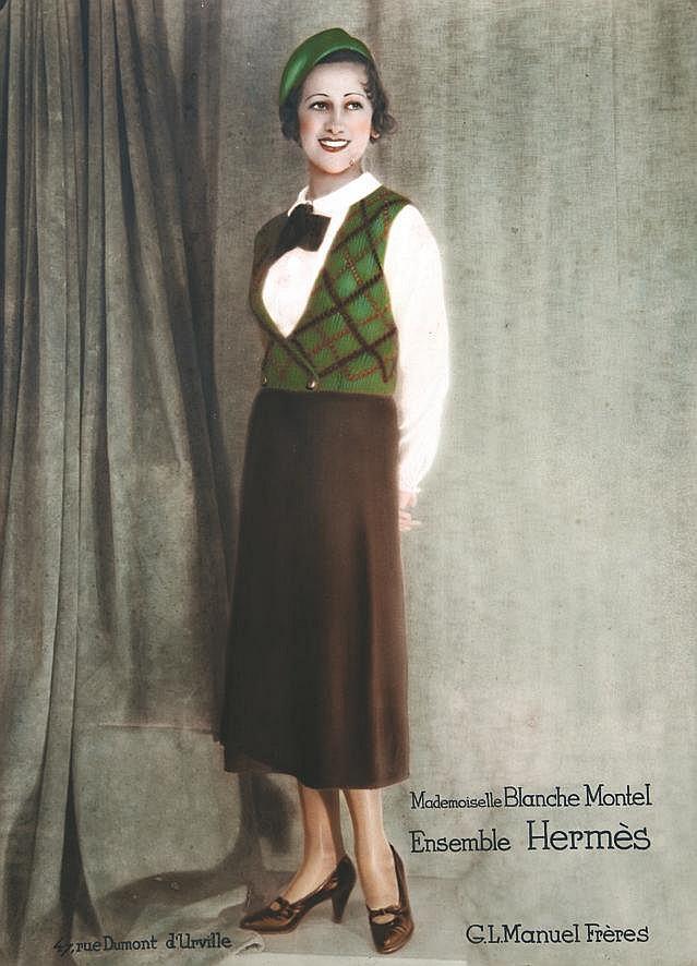 PHOTO : G. L. MANUEL FRERES(GASTON & LUCIEN ) Hermès - Ensemble Hermès : Mademoiselle Blanche Montel - Très rare - very rare vers 1925