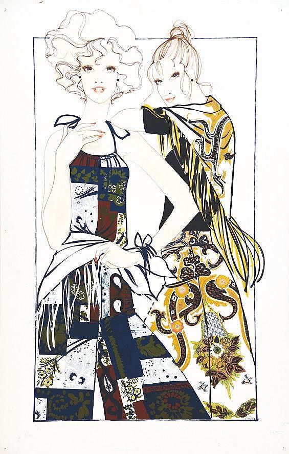 LACAZE A.  Les 2 Amies - Printemps vers 1970 - Gouache de mode / Fashion Gouache signée A. Lacaze 1976     1976