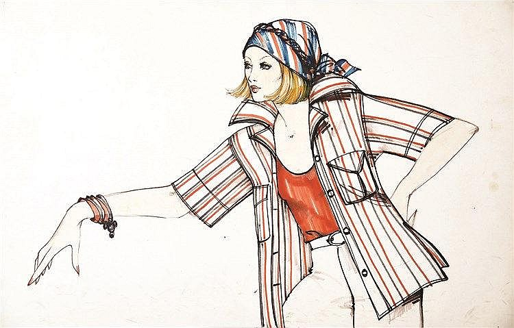 LACAZE A.  Printemps vers 1970 - Gouache de mode / Fashion Gouache     vers 1970