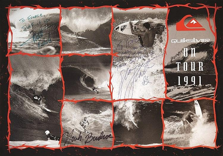 Quicksilver on tour 1991 affiche signée par / Signed By : Jeff Booth - Kelly Slatter - Noah Budroe     1991