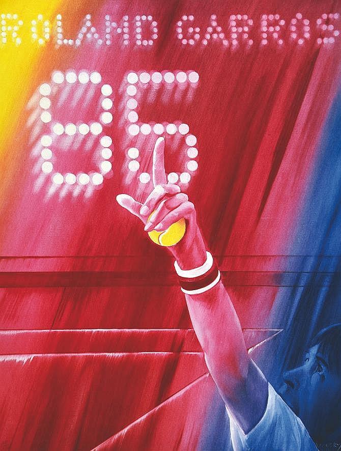 MONORY JACQUES  Roland Garros 1985  signée par Jacques Monory et N° 28/150 ( Player represented Jimmy Connords )     1985