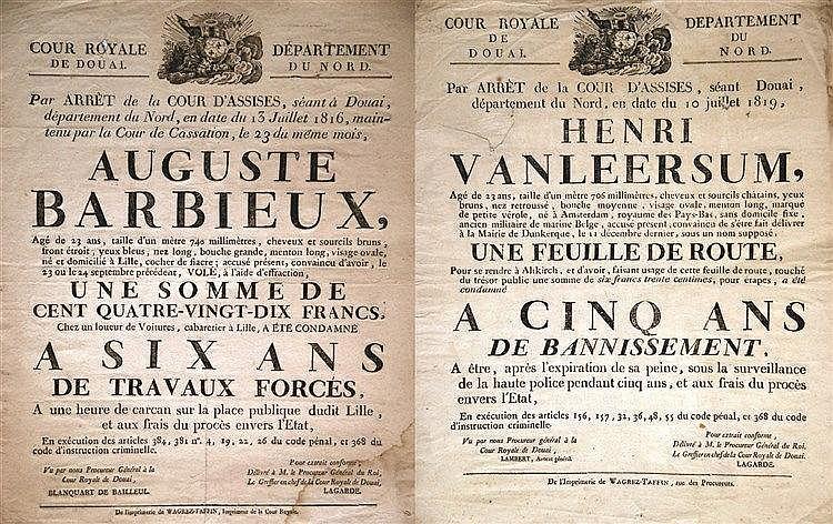 Lot de 2 Affiches : Cour Royale de Douai Banissement Travaux Forcés de     1816 & 1819