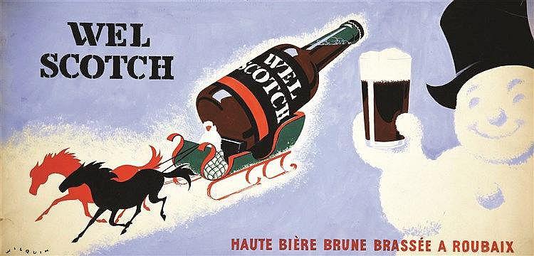 WILQUIN  Wel Scotch - Roubaix gouache signée par Wilquin     vers 1930  Roubaix (Nord)