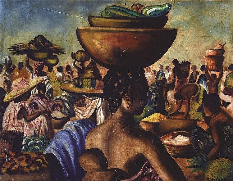 Le Marché huile sur Toile de G. de Mouko     vers 1950