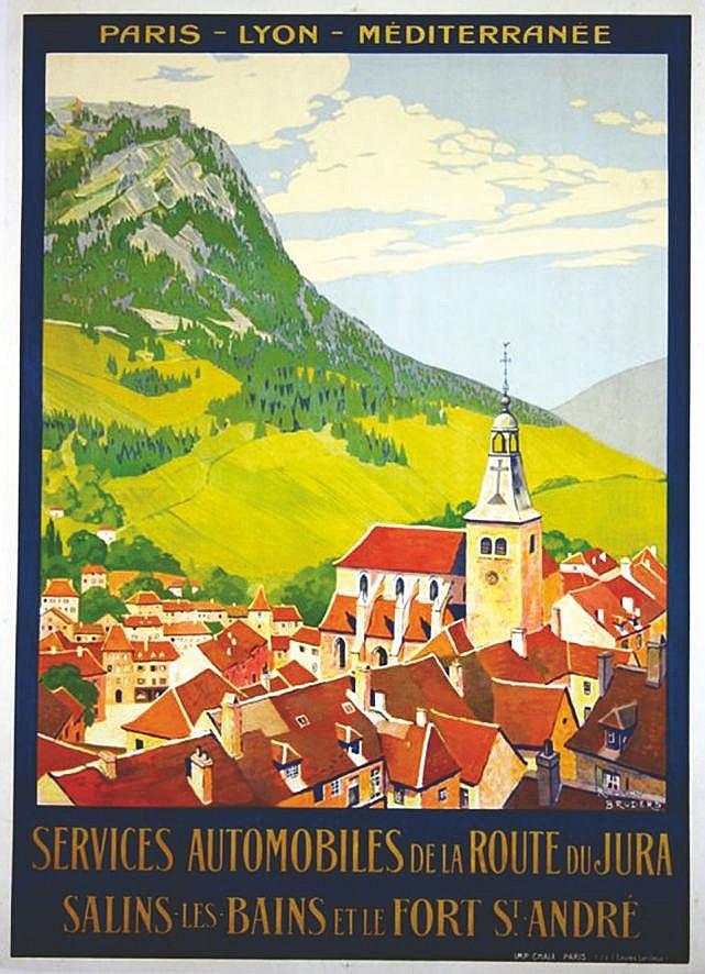 BRODERS ROGER Services Automobiles de la Route du Jura - Affiche Encadrée vers 1920