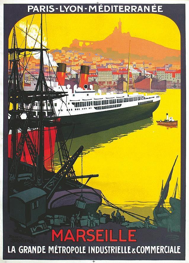 BRODERS ROGER  Marseille - La Grande Métropole Industrielle & Commercial -  Affiche Encadrée     vers 1920