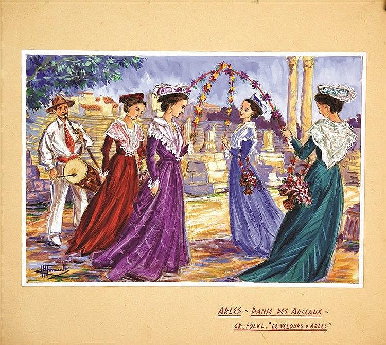 HOMUALK CHARLES Danse de la Moisson Gouache signée Charles Homualk vers 1930