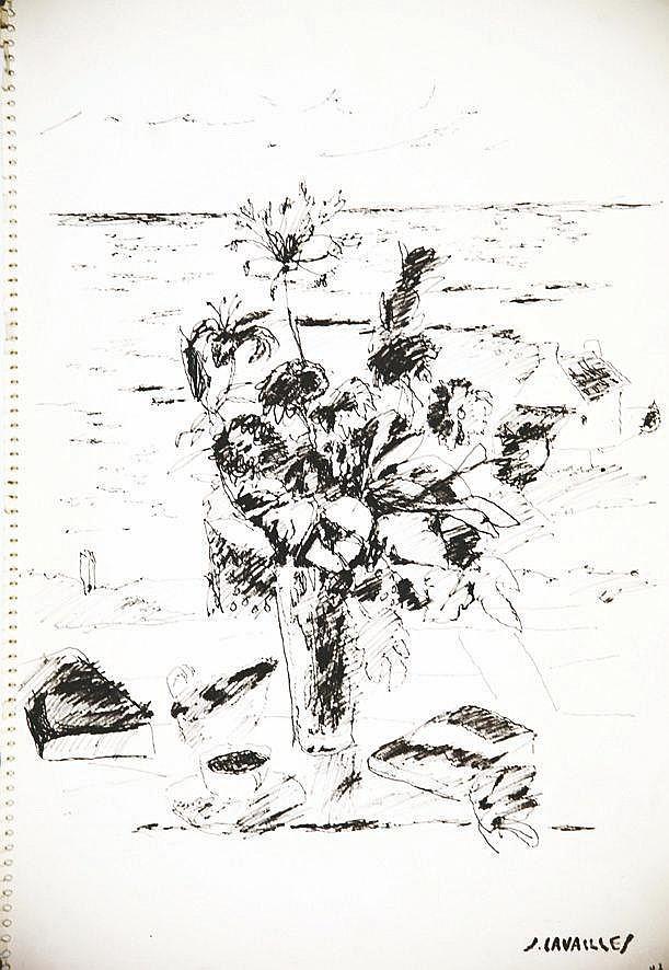 CAVAILLES JULES  Bouquet de Fleurs devant la Plage de Cannes -  dessin au feutre signé du tampon J Cavailles     vers 1960