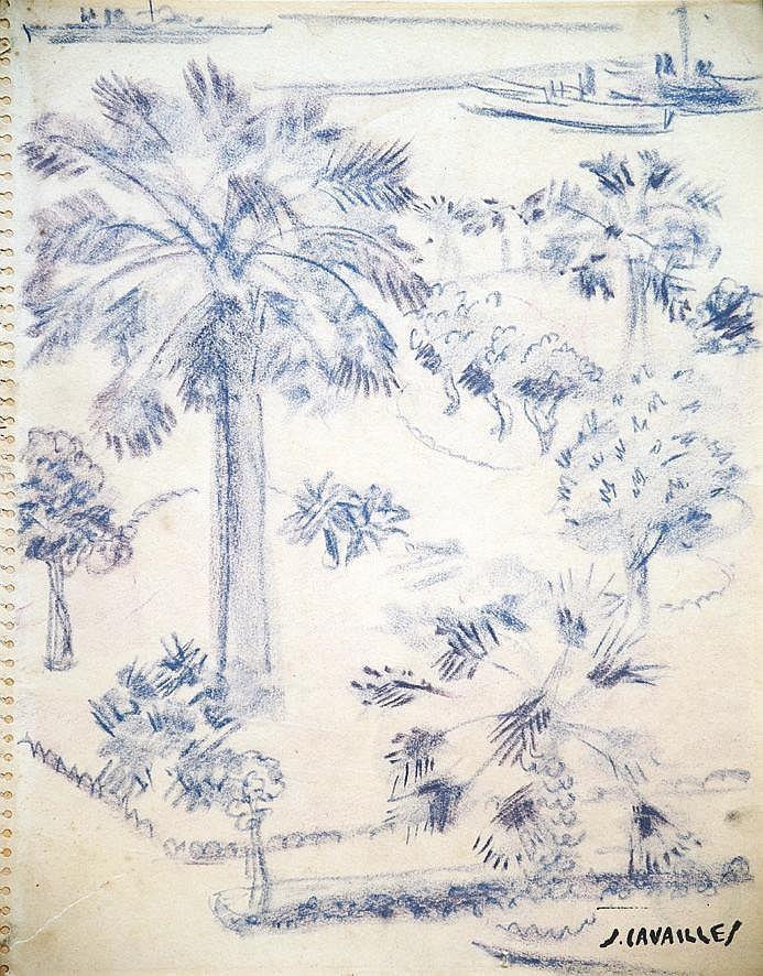 CAVAILLES JULES  Cannes La Crosette - Crayon de Couleur signé du Tampon J Cavailles     vers 1950