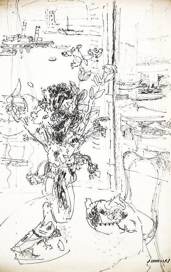 CAVAILLES JULES  Fenêtre ouverte sur le port de Cannes dessin au feutre  signée du tampon J. Cavaillès     vers 1960