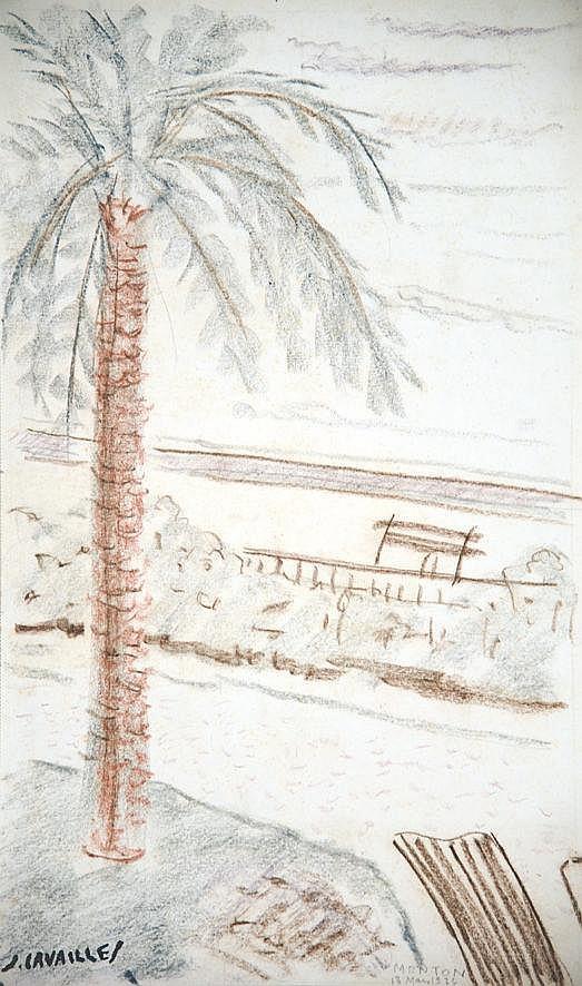 CAVAILLES JULES  Menton dessin au crayon de couleurs signé du tampon J Cavailles     1934
