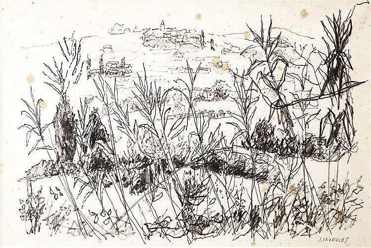 CAVAILLES JULES Cannes vue de la Campagne Dessin au Feutre Signé en bas à droite J Cavaillès vers 1970