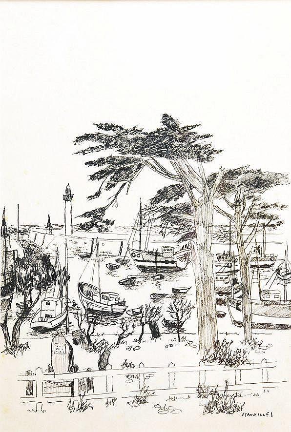CAVAILLES JULES Port de Cannes - Feutre sur papier Signé en bas à droite J Cavaillès vers 1970