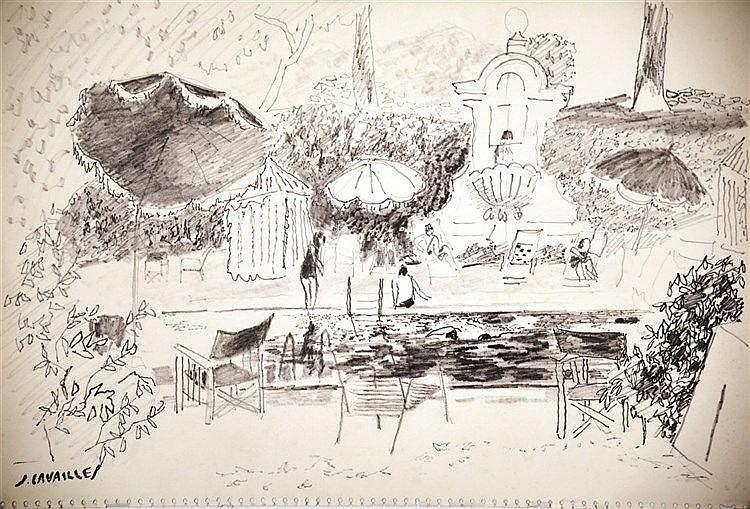 CAVAILLES JULES  Cannes La Piscine Dessin au Feutre signé du tampon de l'Artiste J Cavailles     vers 1950