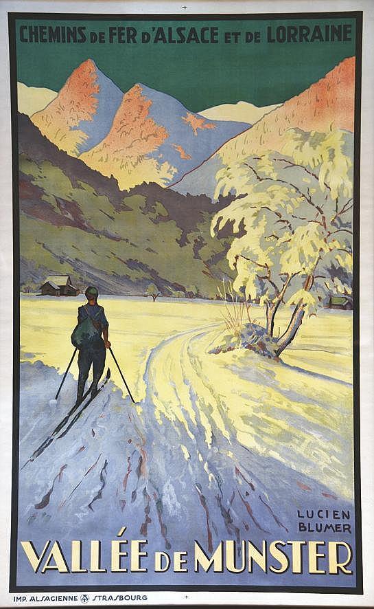 BLUMER LUCIEN Vallée de Munster - Chemins de fer D'Alsace et de Mer Encadrée / Framed vers 1930