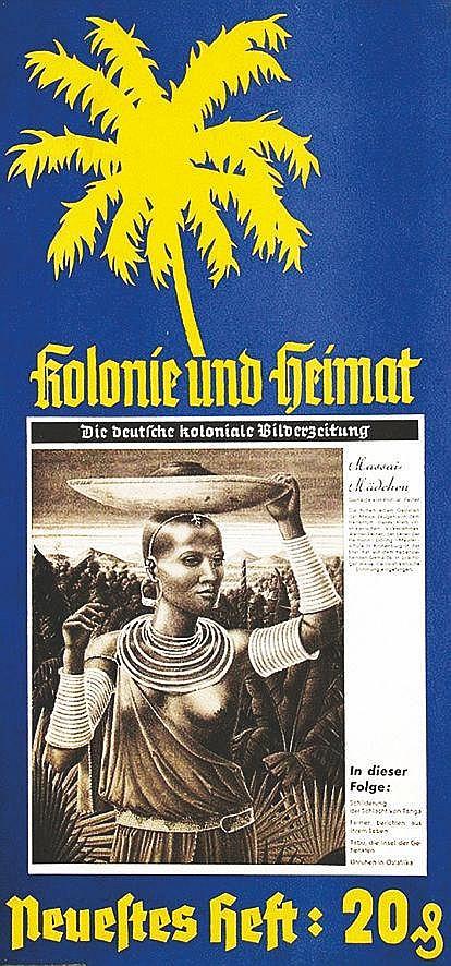 Massaïs Mädchen - Rare affiche Coloniale Allemande vers 1930