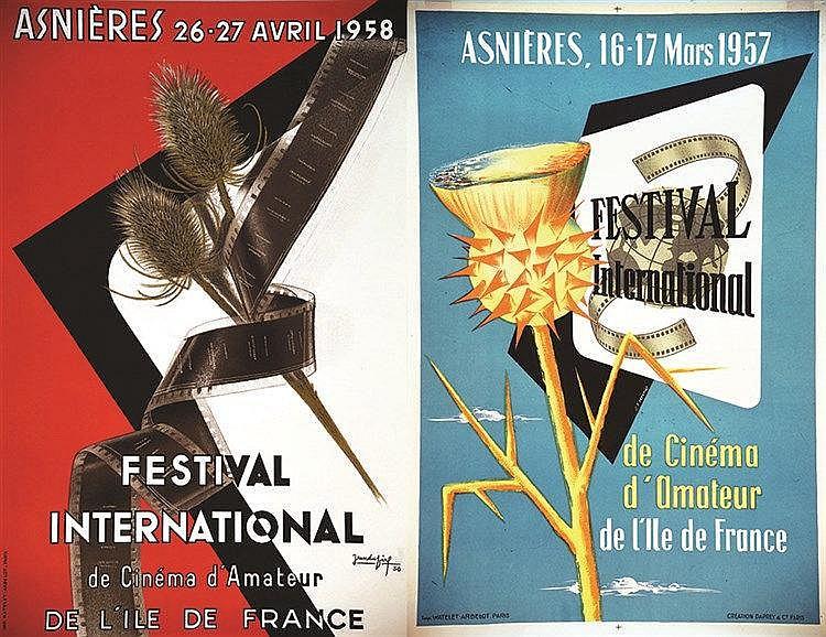 DUGIRF JEAN Lot de 2 Affiches : Asnières Festival International de Cinéma d'Amateur Ile de France 1957 & 1958 Asnières (Hauts de Seine)