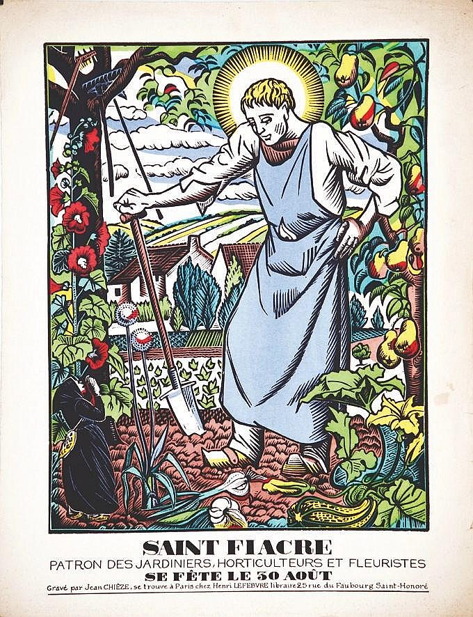 CHIEZE JEAN Saint Fiacre Patron des Jardiniers, Horticulteurs & Fleuristes le 30 Août vers 1930