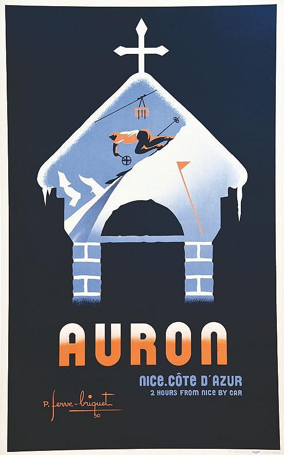 FERVE-BRIQUET P.  Auron - Nice Côte d'Azur     1950