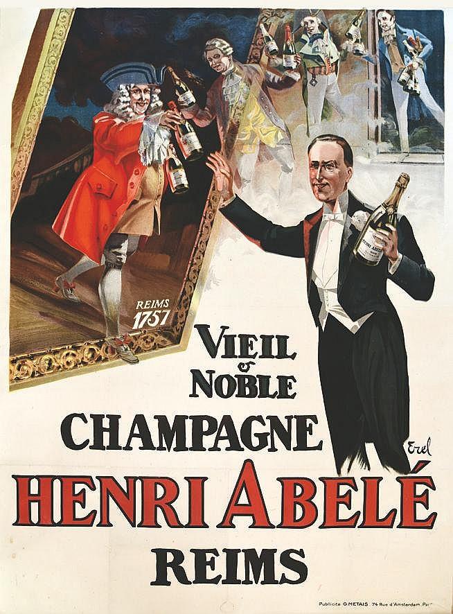 EREL Champagne Henri Abelé Viel & Noble vers 1920 Reims (Marne)