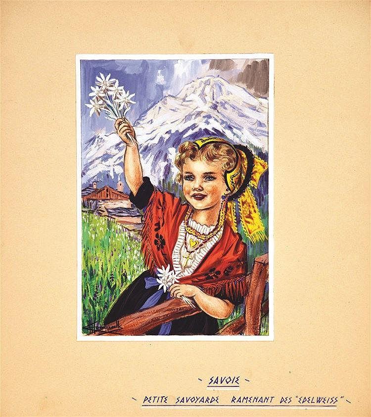 HOMUALK CHARLES  Petite Savoyarde Gouache signée Charles Homualk     vers 1930