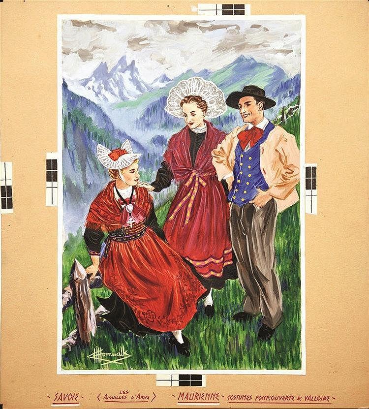 HOMUALK CHARLES  Maurienne Les Aiguilles d'Arve Gouache signée Charles Homualk     vers 1930
