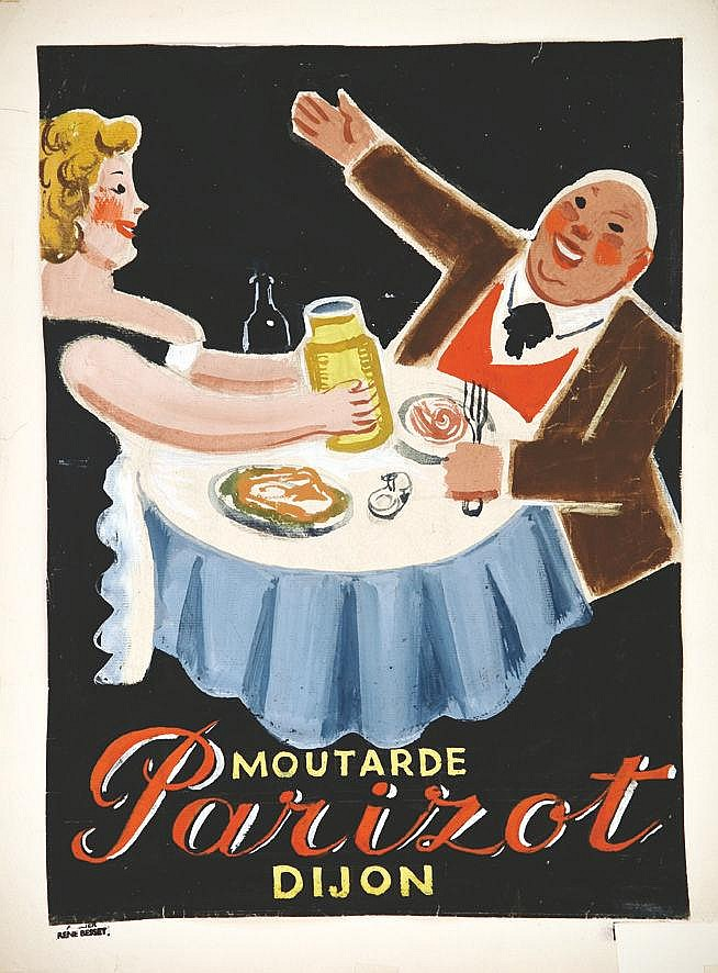 BESSET RENE Parizot Moutarde gouache signée du Tampon René Besset vers 1930 Dijon (Côte-d'Or)