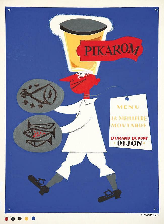 MARTOCQ FRANCIS  Durand Dupont Pikarom Gouache signée Martocq     vers 1960  Dijon (Côte-d'Or)