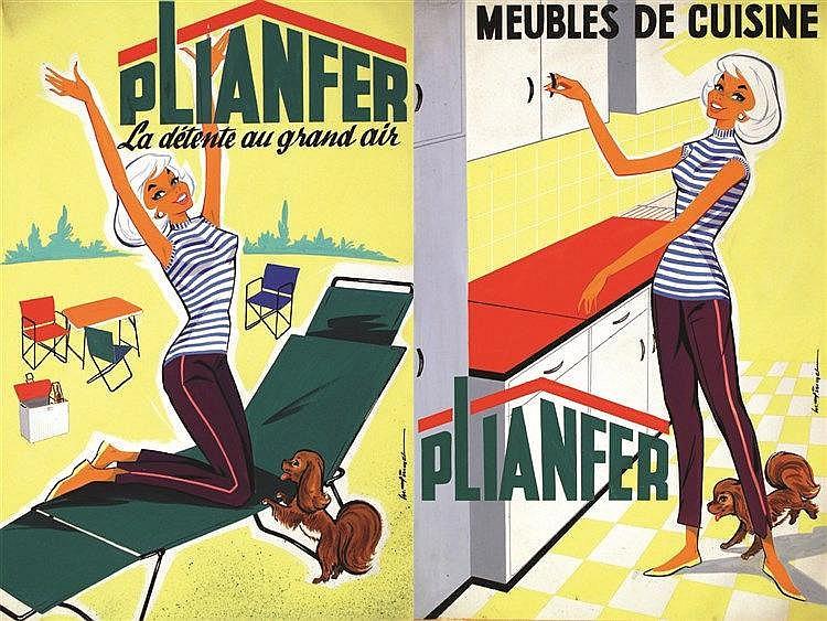 JAMIESON ALIXANDER  Plianfer - Meubles de cuisine Gouache     vers 1950