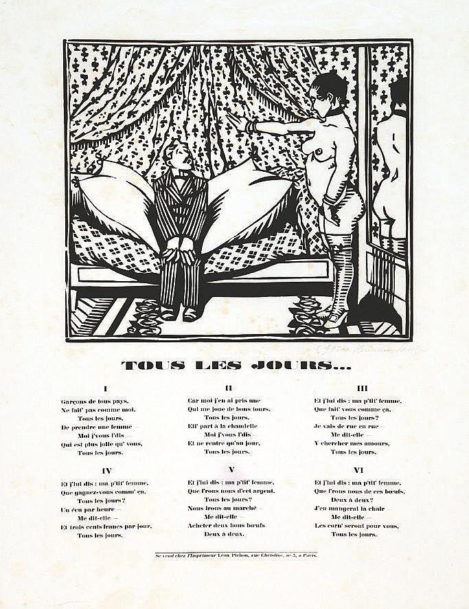 HERMAN PAUL  Tous les Jours …( Prostitution) affiche signée et numéroté par Herman Paul 59/200     vers 1900