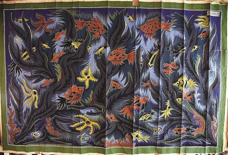 GREKOFF ELIE  Aquarium par ELIE GREKOFF Gouache pour une Tapisserie par Elie Grekoff     vers 1950  Aubusson ( Creuse )