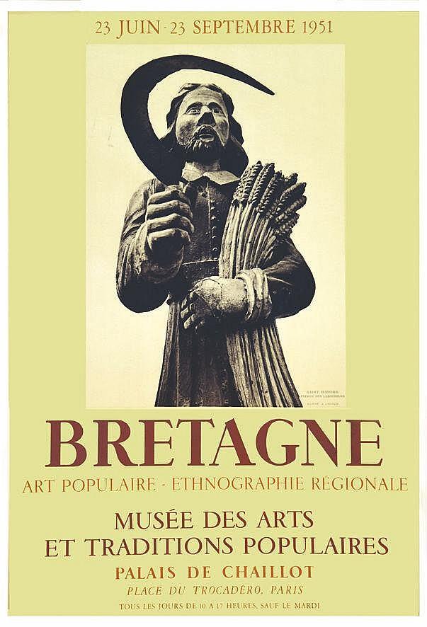 Bretagne Art Populaire Musée des Arts & Traditions Populaires - St Isidore Patron des Laboureurs 1951