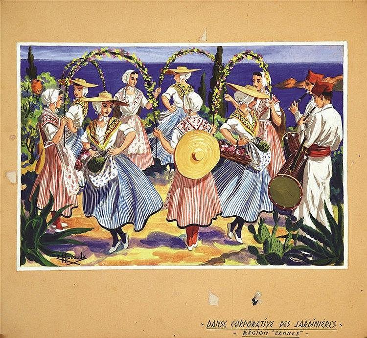 HOMUALK CHARLES Cannes - Danse Corporative des Jardinières Gouache signée Charles Homualk vers 1930